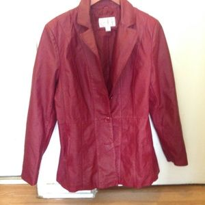 Red  vintage genuine leather jacket size Large